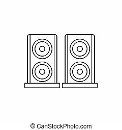 Two audio speakers icon, outline style