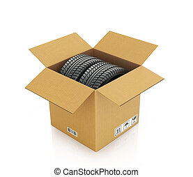 Two automobile wheels in a cardboard box on a white...
