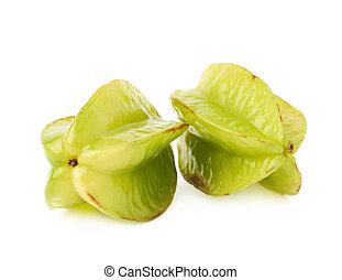 Two averrhoa carambola starfruits isolated - Two averrhoa...