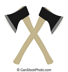 Two axe are isolated on white background - Vector...
