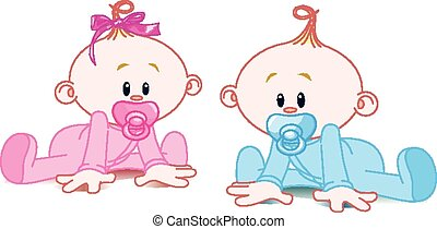 Two Babies - Two adorable babies - the girl with bow and the...