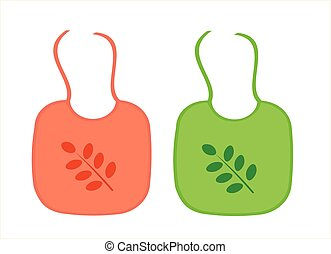 Two baby aprons with leaf decoration