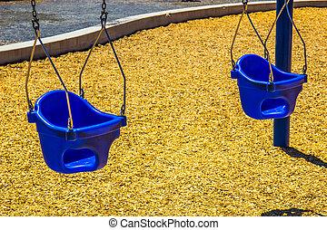 Two Baby Bucket Seats On Swing Set