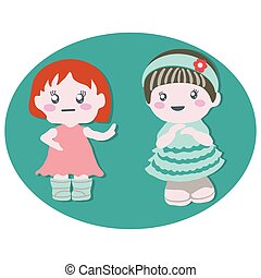 Two baby dolls with cute dresses. Baby birthday party.