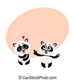 Two baby panda characters, one pointing to another hugging itself
