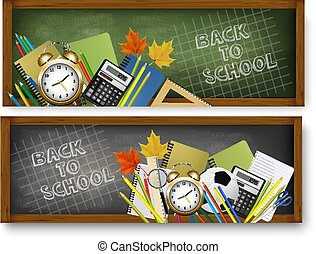 Two Back to School banners with supplies. Vector.