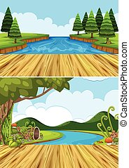 Two background scenes with river and trees