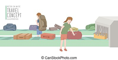 Two backpackers get luggage from the baggage carousel flat vector.