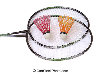 Two badminton racquets with color shuttlecocks