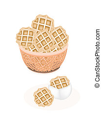 Two Baked Round Waffles in A Brown Basket