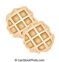 Two Baked Round Waffles on White Background - Sweet Food and...