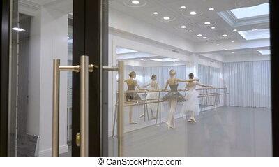 Two ballerinas are practicing using barre in school indoors.