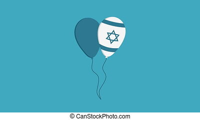 Two balloons flat design animation icon with Israel...