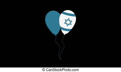 Two balloons flat design animation icon with Israel Independence Day holiday concept flag