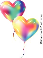 Two Balloons Heart Shape isolated on white background