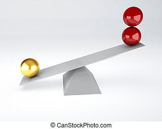 two balls. Balance concept