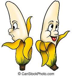 Two Bananas - High detailed and coloured cartoon ...