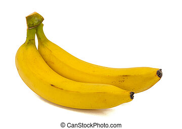 Two bananas, isolated on white background