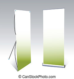 two banner displays, with green background