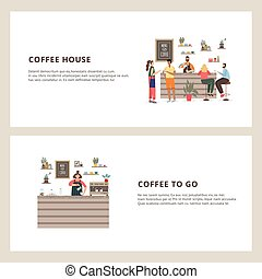 Two banner with barista making coffee at counter a flat vector illustrations