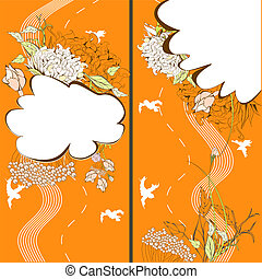 Two banner with floral element