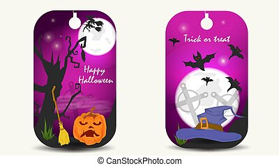 two banner stickers, for decoration design, on the theme of all saints eve Halloween, pumpkin with a broom and a witchs hat, flat vector illustration