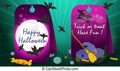 two banner stickers for decoration design on the theme of all saints eve Halloween, night moon witch hat and broom, flat vector illustration