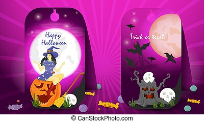 two banner stickers for decoration design on the theme of all saints eve Halloween, a witch sitting on a pumpkin scary stump, flat vector illustration