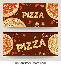 Two banners with advertising of Italian pizza