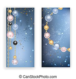 two banners with beads - two banners with black, pink, blue...