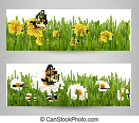 Two banners with butterflies and flowers. Vector.