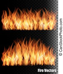 Two banners with fire on black background. Vector.