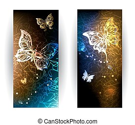 two banners with glowing butterflies