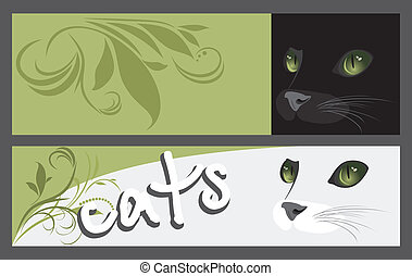 Two banners with muzzle of cats