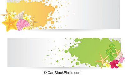 Two banners with summer elements