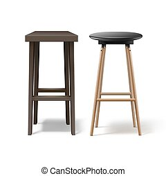 Two bar stools - Vector two ocher, brown wooden bar stools ...
