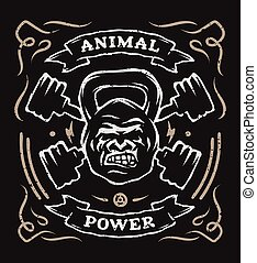 Two barbell and head gorilla weight. Athletic emblem, poster...