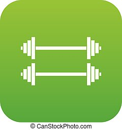 Two barbells icon digital green