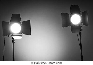 Two barn door lights in photo studio