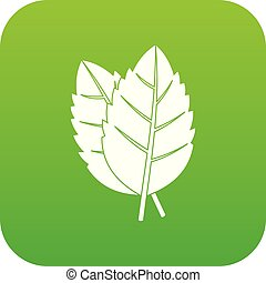 Two basil leaves icon digital green
