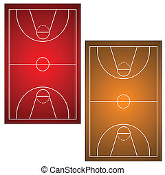 Two basketball fields on a white background