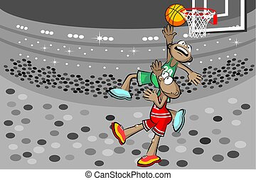 Two basketball players at the stadium. Conceptual vector...