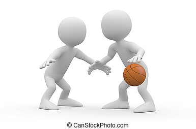 Two basketball players confronted