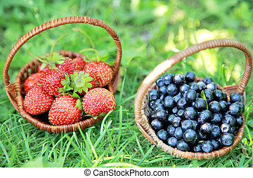 Two baskets - strawberries and blueberries