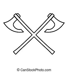 Two battle axes vikings icon black color vector illustration flat style image
