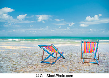 Two Beach Chairs on the beach, Vacation Summer concept,beautiful beach