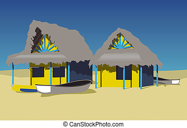 beach huts - two beach huts