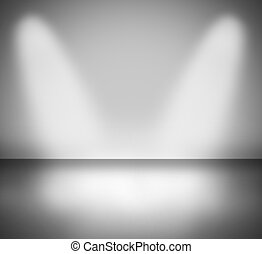 two beams of light on a dark background