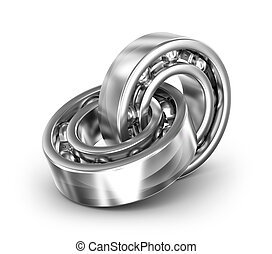 Two bearings linked together on white background