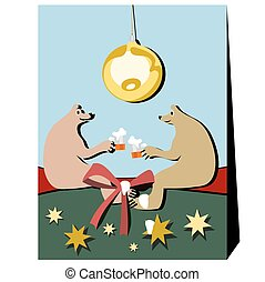 Two bears by beer